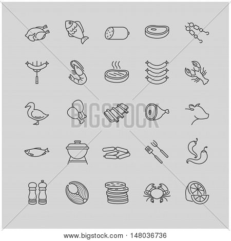 meat and fish icons for your design