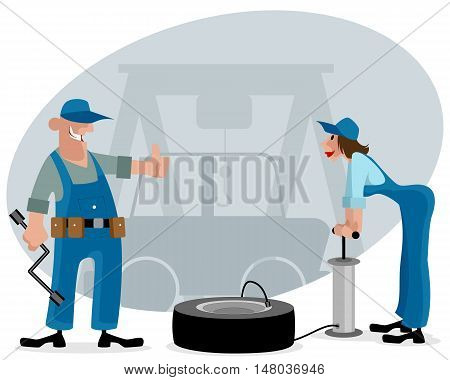 Vector illustration of a two car mechanics