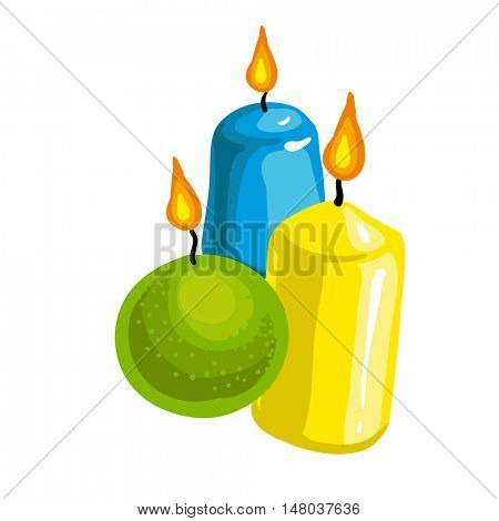 Candles Flame Fire Light Isolated on Background. Vector Illustration. Isolated on white.