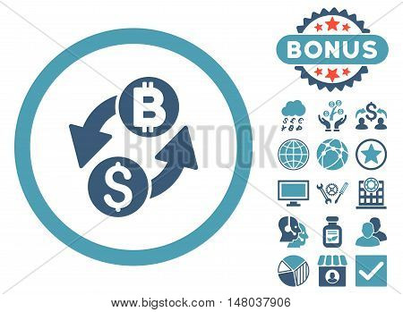 Dollar Bitcoin Exchange icon with bonus pictures. Vector illustration style is flat iconic bicolor symbols, cyan and blue colors, white background.