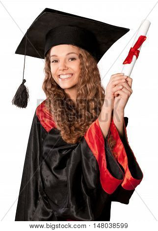 Friendly Young Girl in Graduation Gown Holding a Diploma - Isolated