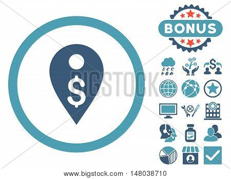 Dollar Map Marker icon with bonus elements. Vector illustration style is flat iconic bicolor symbols, cyan and blue colors, white background.
