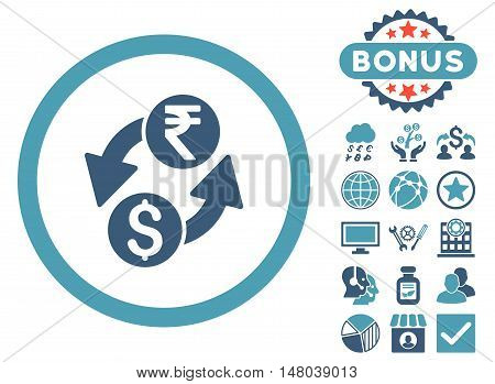 Dollar Rupee Exchange icon with bonus elements. Vector illustration style is flat iconic bicolor symbols, cyan and blue colors, white background.