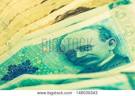 Norwegian Krone Cash Money Closeup. Krone Banknotes.