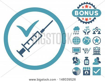 Done Vaccination icon with bonus design elements. Vector illustration style is flat iconic bicolor symbols, cyan and blue colors, white background.