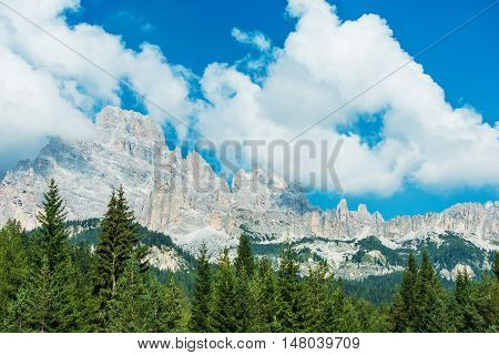 Summer Mountain Scenery. Beautiful Dolomites Mountains in Northern Italy. South Tyrol.