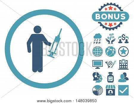 Drug Dealer icon with bonus design elements. Vector illustration style is flat iconic bicolor symbols cyan and blue colors white background.
