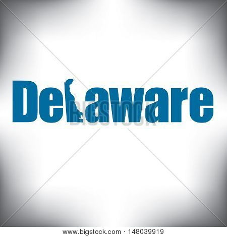The Delaware shape is within the Delaware name in this state graphic