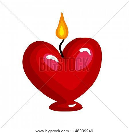 Burning candle in the form of heart. Vector illustration. Isolated on white.