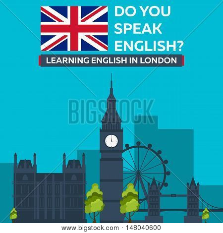 Learning English In London. London Sity. Education In England. Flat Design