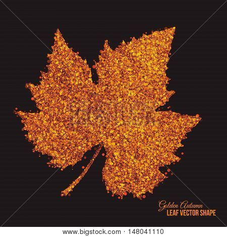 Abstract bright golden shimmer glowing dots in autumn grape leaf shape artistic vector background. Scatter shine tinsel particles light effect. Handmade stippled art floral illustration