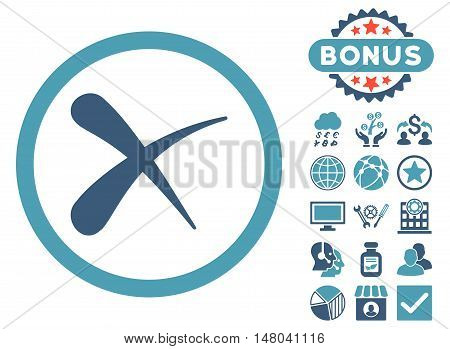 Erase icon with bonus design elements. Vector illustration style is flat iconic bicolor symbols, cyan and blue colors, white background.