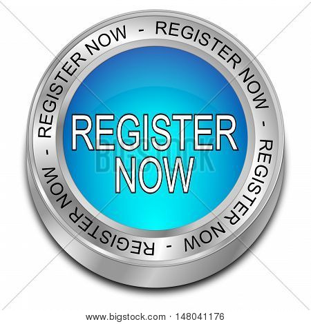 blue Register now Button - 3D illustration