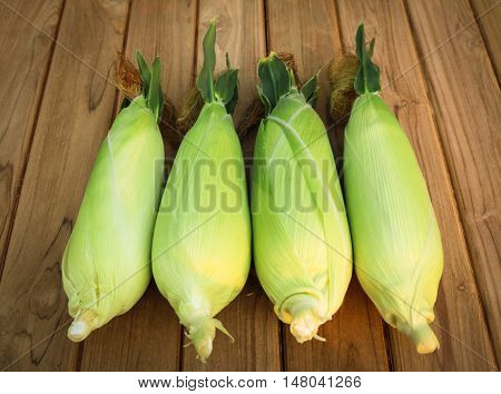 Top view four corn on wood table.