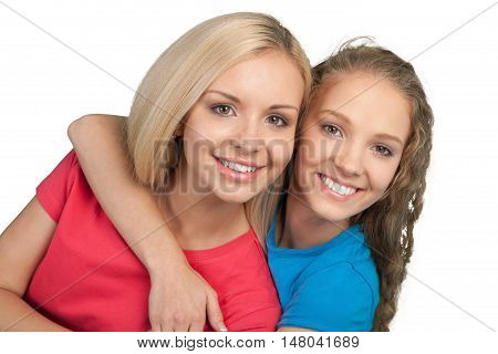 Portrait of Two Girlfriends / Sisters Hugging