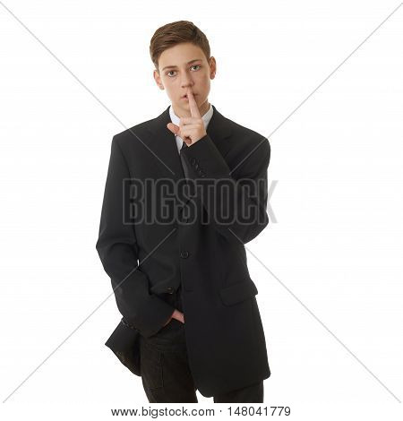 Cute teenager boy in back business suit with finger over mouth over white isolated background, half body, future career concept