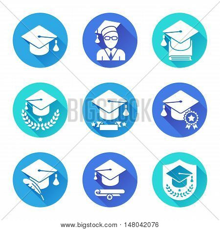 Education and school icons. Set of 9 round flat icons with long shadows