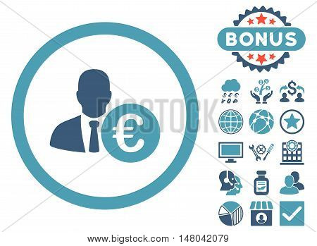 Euro Banker icon with bonus pictures. Vector illustration style is flat iconic bicolor symbols, cyan and blue colors, white background.
