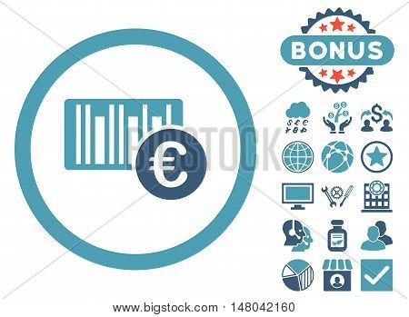 Euro Barcode icon with bonus pictures. Vector illustration style is flat iconic bicolor symbols, cyan and blue colors, white background.