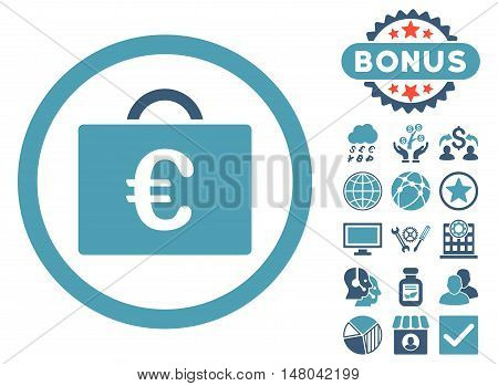 Euro Bookkeeping Case icon with bonus images. Vector illustration style is flat iconic bicolor symbols, cyan and blue colors, white background.