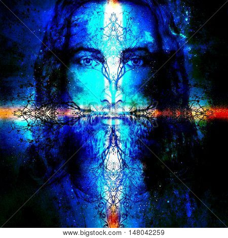 Jesus Christ painting with ornament tree symbolising life, in cosmic space, eye contact