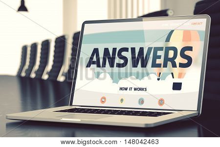 Answers Concept. Closeup Landing Page on Mobile Computer Display on Background of Meeting Room in Modern Office. Toned. Blurred Image. 3D.