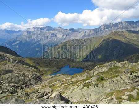 Small Lake And The Mountains, Aiguillette Des Houches, Brevent, France, The Alps