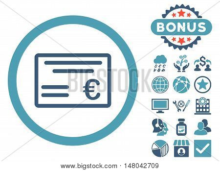 Euro Cheque icon with bonus symbols. Vector illustration style is flat iconic bicolor symbols, cyan and blue colors, white background.