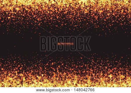Abstract bright golden shimmer glowing triangular particles vector background. Scatter shine tinsel light explosion effect. Burning sparks wallpaper. Celebration, holidays and party illustration