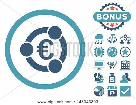 Euro Collaboration icon with bonus design elements. Vector illustration style is flat iconic bicolor symbols cyan and blue colors white background.