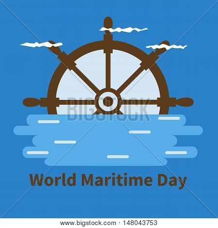 Banner for World Maritime Day with wheel, water, clouds and blue background