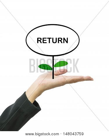 Closeup return word in circle text box on top of plant on working woman hand isolated on white background in business concept with clipping path
