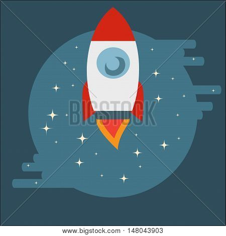 Space Shuttle Rocket among stars in circle in flat style