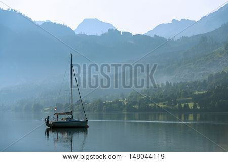 Sunny summer morning on the Grundlsee, Alps, Austria, Europe.