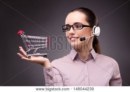 Woman in online shopping concept