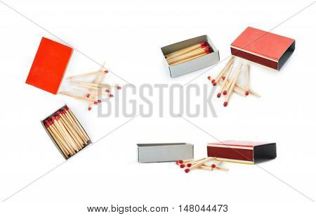 Set of Pile of Wooden unused matches with box isolated over the white background