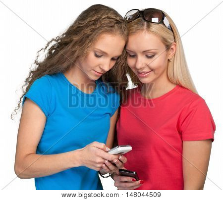 Portrait of Two Girlfriends / Sisters with Smartphones