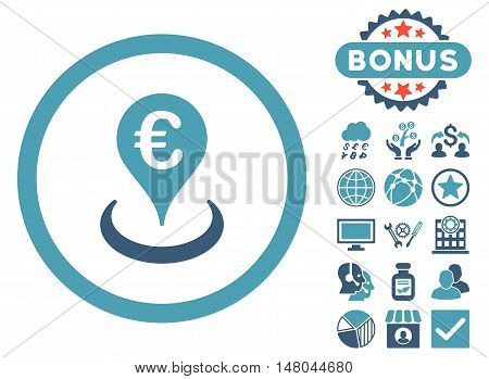 Euro Location icon with bonus design elements. Vector illustration style is flat iconic bicolor symbols, cyan and blue colors, white background.