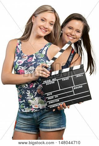 Portrait of Two Girlfriends / Sisters Holding a Clapperboard