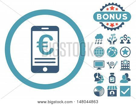 Euro Mobile Bank Account icon with bonus elements. Vector illustration style is flat iconic bicolor symbols, cyan and blue colors, white background.