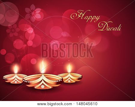Creative Illuminated Oil Lit Lamps on shiny background, Vector greeting card design for Indian Festival of Lights, Happy Diwali Celebration.