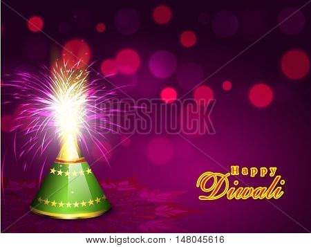 Elegant exploding Firecracker on shiny blured purple background for Indian Festival of Lights, Happy Diwali Celebration.