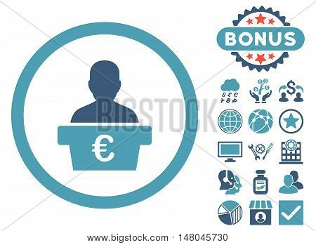 Euro Politician icon with bonus images. Vector illustration style is flat iconic bicolor symbols, cyan and blue colors, white background.