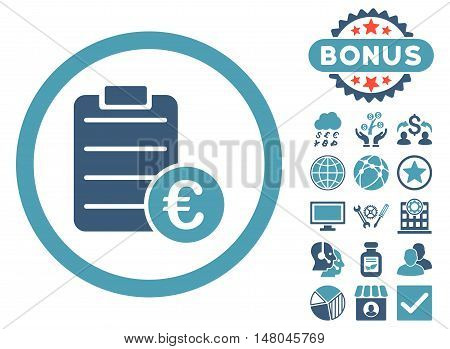 Euro Prices icon with bonus pictogram. Vector illustration style is flat iconic bicolor symbols, cyan and blue colors, white background.