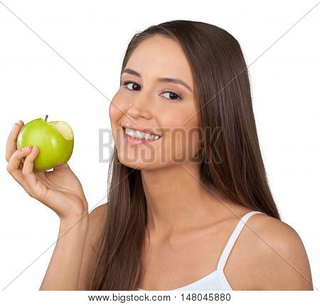 Smiling Womna Holding a Bitten Apple - Isolated