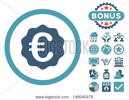 Euro Reward Seal icon with bonus symbols. Vector illustration style is flat iconic bicolor symbols, cyan and blue colors, white background.