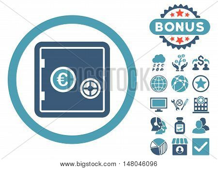 Euro Safe icon with bonus pictogram. Vector illustration style is flat iconic bicolor symbols, cyan and blue colors, white background.