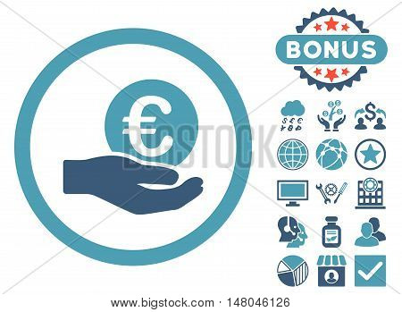 Euro Salary Hand icon with bonus pictogram. Vector illustration style is flat iconic bicolor symbols, cyan and blue colors, white background.