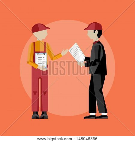 Delivery man on the work isolated vector illustration