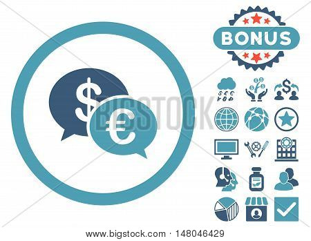 Euro Transactions icon with bonus pictogram. Vector illustration style is flat iconic bicolor symbols, cyan and blue colors, white background.